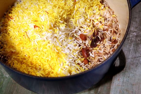 Saffron date and almond rice