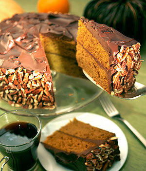 "Chocolate and pumpkin are unexpectedly delightful in this fragrant cake. The sour cream in the chocolate frosting adds a nice, subtle tang. <a href=""http://www.latimes.com/theguide/restaurants/la-fo-pumpkinrec26b-2008nov26,0,5432815.story"">Click here for the recipe.</a>"
