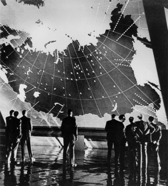 "<em>A scene from Stanley Kubrick's 1964 film ""Dr. Strangelove or: How I Learned to Stop Worrying and Love the Bomb.""</em> <br><br> ""Dr. Strangelove or: How I Learned to Stop Worrying and Love the Bomb"" remains one of Kubrick's most popular films. The nuclear-war satire, which was made at the height of U.S.-Soviet tensions, is a darkly comic look at power and corruption, and it features what is perhaps Peter Sellers' greatest performance in multiple roles."