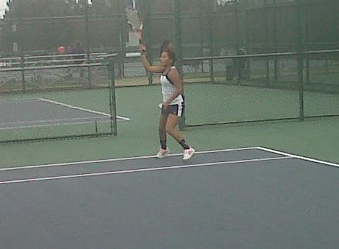 Peninsula Catholic No. 6 player Hye Bin Lee hits a forehand during the 2012 TCIS girls tennis tournament at Huntington Park in Newport News.