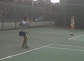 HRA's Manpreet Dhindsa hits a backhand during her No. 6 flight semifinal victory in the 2012 TCIS girls tennis tournament at Huntington Park.