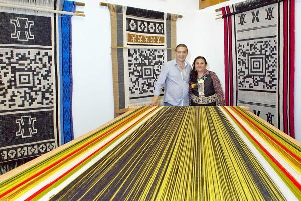 Guillermo Bert literally weaves ancient folklore into tapestries with the help of Chilean weaver Anita Paillamil.
