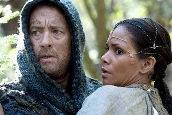 "Tom Hanks as ""Zachry"" and Halle Berry as ""Meronym"" in the epic drama ""Cloud Atlas."""