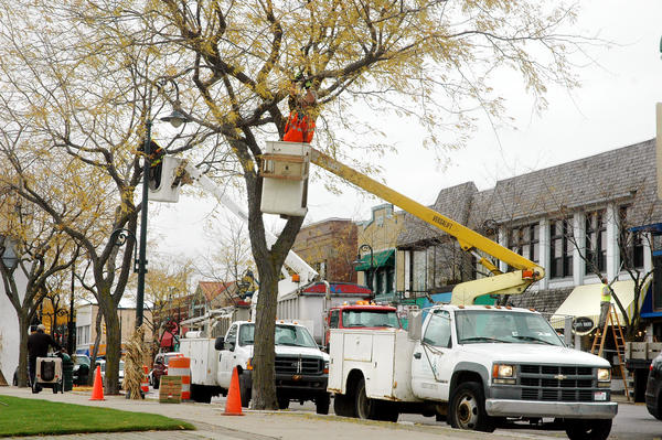 Crews from Holiday Lighting Services from Manchester, Mich. install lights on trees along Bridge Street near Park Street Wednesday.