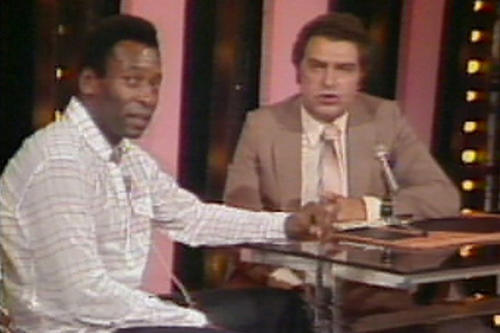 "Brazilian soccer legend Edson Arantes do Nascimento, better known as Pelé, with Don Francisco on ""Sábado Gigante"" in 1968."