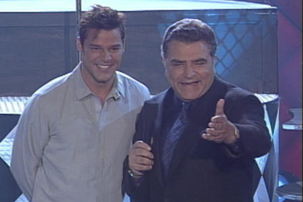 "Puerto Rican pop star Ricky Martin with Don Francisco on ""Sábado Gigante"" in 1999."