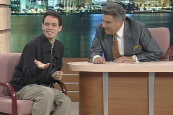 "Top-selling salsa music artist and singer Marc Anthony with Don Francisco on ""Sábado Gigante"" in 1995."