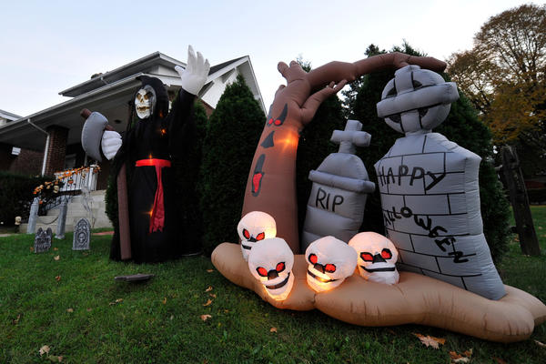 Halloween decoration fill the lawn of 1924 Walbert Avenue Wednesday, October 24, 2012 in South Whitehall Township, Pennsylvania.