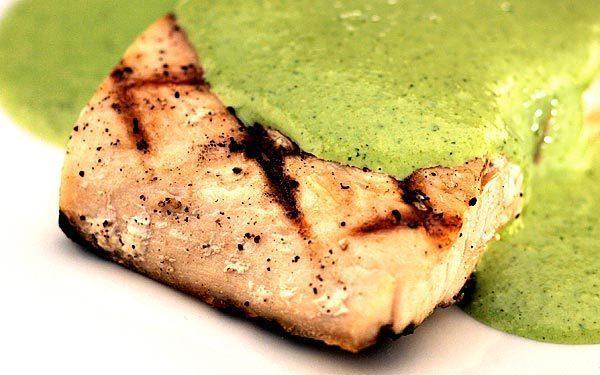 Grilled mahi mahi with jalapeno cilantro sauce.
