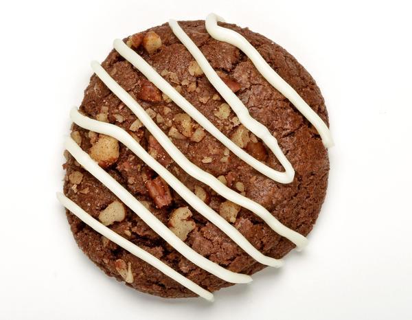 White chocolate pecan turtle cookie.