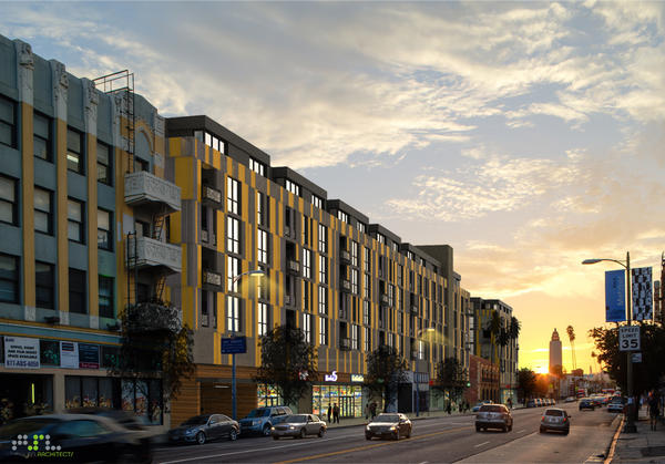 The $100 million High Line West, shown in rendering, would surround a historic landmark building on Hollywood Boulevard.