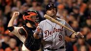 Gerald Laird #9 of the Detroit Tigers reacts after he struck out in the sixth inning against the San Francisco Giants during Game Two