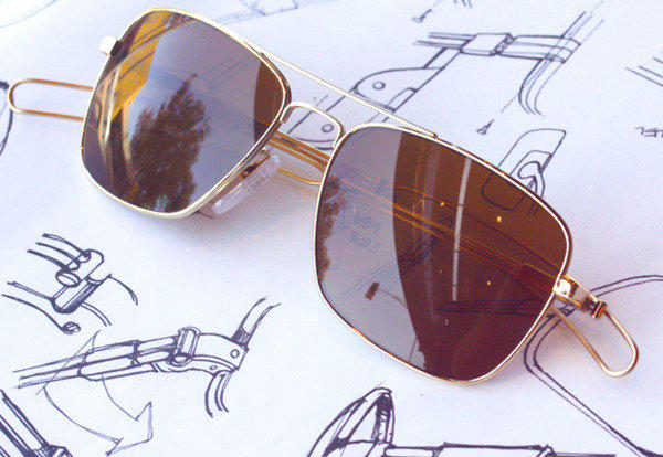 A pair of sunglasses made by Tavat Eyewear.