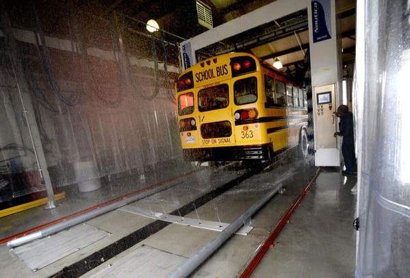 Washington County Public Schools new school bus-washing bay.