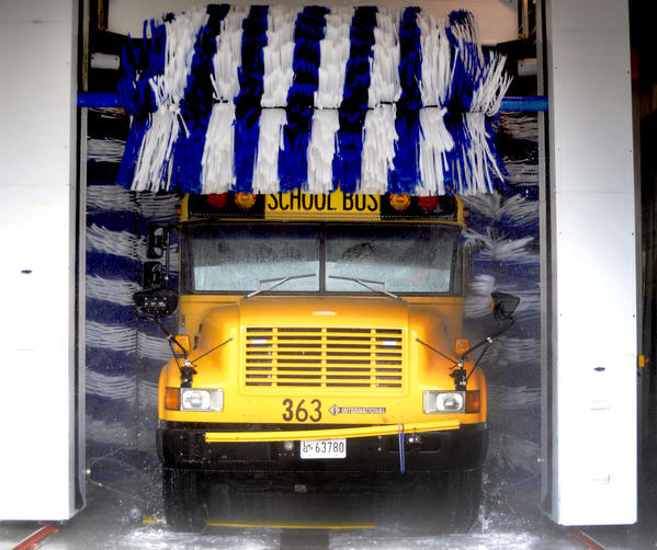 Washington County Public Schools¿ new school bus-washing bay.