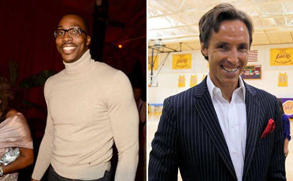 Steve Nash, right evokes a harried hedge fund manager with his striped suit and mussed mane. Dwight Howard goes for a Clark Kent collegiate look, with bold eyewear and attention to detail.