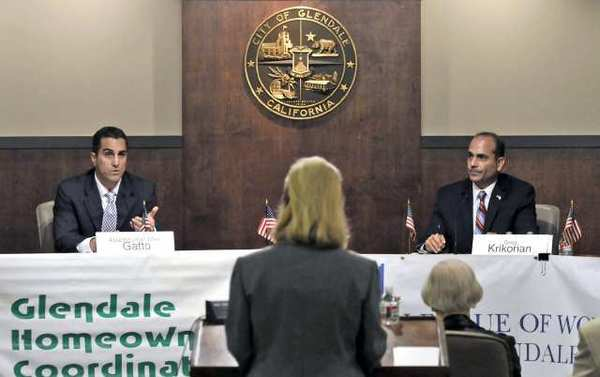 State Assemblyman Mike Gatto, left, and Glendale Unified School District board member Greg Krikorian participate in a debate Thursday night at Glendale City Hall. The debate was moderated by the League of Women Voters of Glendale/Burbank.