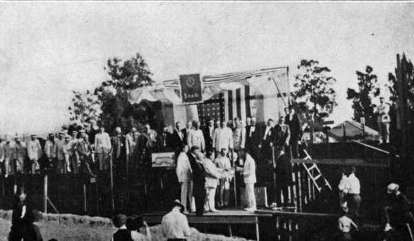Members of Elks Lodge No. 1289 gathered for a ceremonial laying of the cornerstone at their building site on Colorado Street, near Brand Boulevard on August 11, 1917. The lodge was completed just a few months later and dedicated in February, 1918.