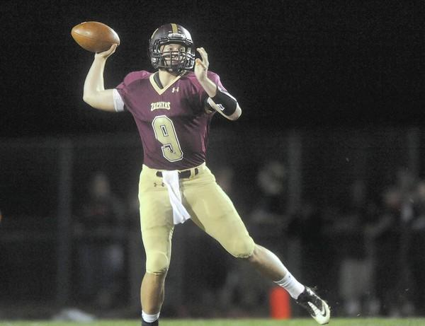 Whitehall's QB Nick Shafnisky (9) looks for an open receiver against Easton High School Friday night.