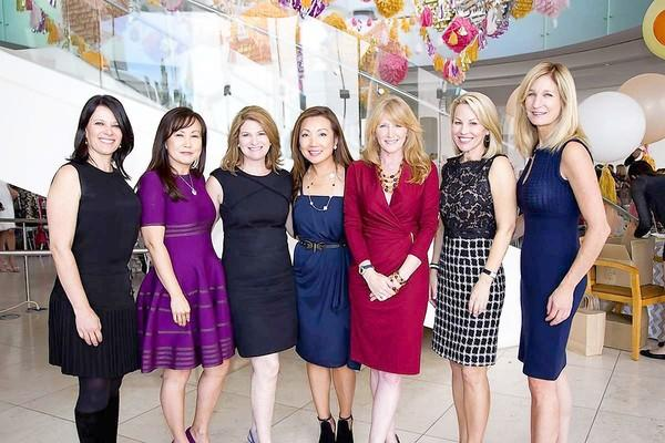 Ann Smyth, Suzan Paek, Melinda Serra, Susan Etchandy, Jennifer Segerstrom, Jill Johnson Tucker and Jennifer Van Bergh at the 2012 Harvesters Fashion Luncheon in Costa Mesa.