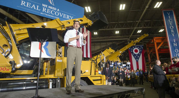 Republican vice presidential candidate Paul Ryan speaks at the Gradall Industries plant in New Philadelphia, Ohio, on Saturday.