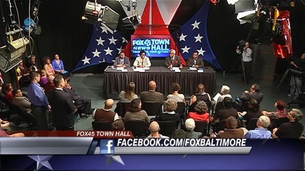 WBFF, Fox45, opened its Baltimore studio Thursday night for a sprited town hall meeting on Question 6, the ballot referendum on same sex marriage.