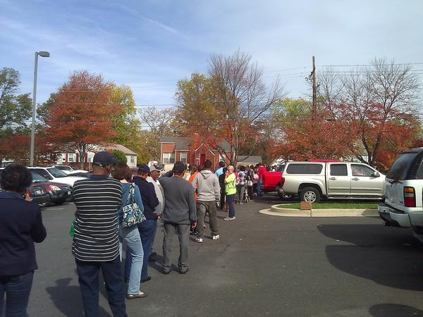 Voting lines stretch around the block in College Park.