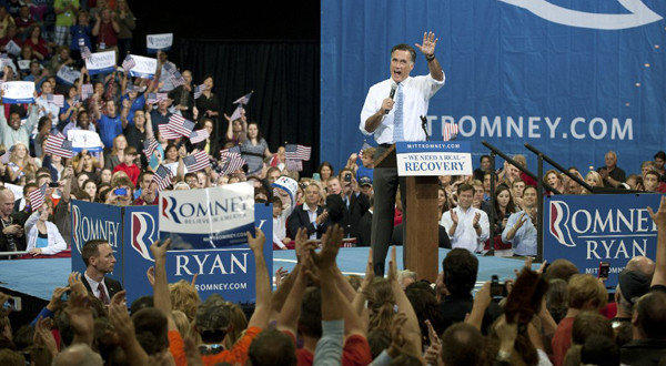 Republican presidential candidate, former Massachusetts Gov. Mitt Romney speaks during a campaign rally earlier today at the Pensacola Bay Center in Pensacola Fla., where he emphasized the importance of a strong military.