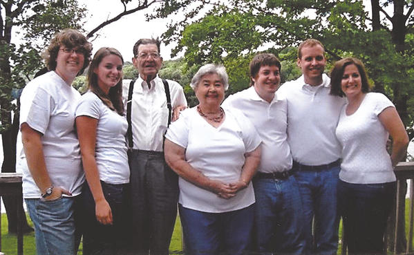 Bernie and Frances Bargiel pose for this picture with their grandchildren. Pictured are, from left, Jodi Plitman, Laura Plitman, Bernie Bargiel, Frances Bargiel, Andy Michel, Jacob Swain and Wesley Swain.