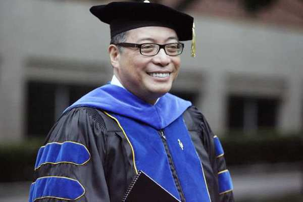 Dr. Luis Calingo proceeds to the Alumni Quad during his inauguration and installation as Woodbury's 13th president, which took place at Woodbury University in Burbank.