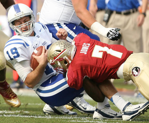 FSU linebacker Christian Jones (7) hits Duke quarterback Sean Renfree (19) during the Duke at FSU college football game at Doak Campbell Stadium in Tallahassee, Fla.