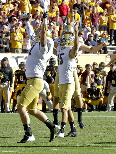 UCLA kicker Ka'imi Fairbairn reacts to high winning field goal of 33 yards as time runs out in the game against Arizona State on Saturday.