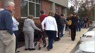 Whether it was the high stakes in the election or the prospect of Hurricane Sandy wreaking havoc in the area, the first day of early voting in Maryland drew a big crowd Saturday at the American Red Cross of Washington County building on Conrad Court.