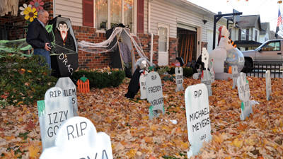 Rockwood native and carpenter Don DuPont has been creating elaborate Halloween scapes on his front lawn for about eight years. DuPont makes nearly all of his decorations, including the tombstones, pumpkins and fencing. Dupont said he spends hours in his garage working on various projects.