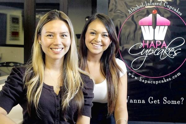 Akemi Lee, from left, and Hanayo Martin started Hapa Cupcakes, a sassy cupcake business that sells alcohol-infused cupcakes.