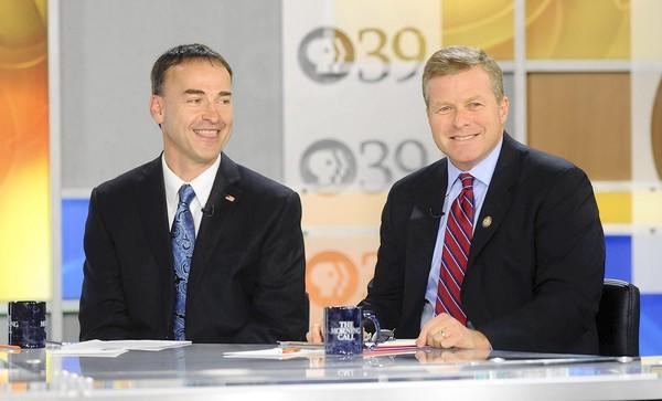 Rick Daugherty (left) debates Charlie Dent (right) in Pennsylvania's 15th Congressional District held at the PBS 39 studio.