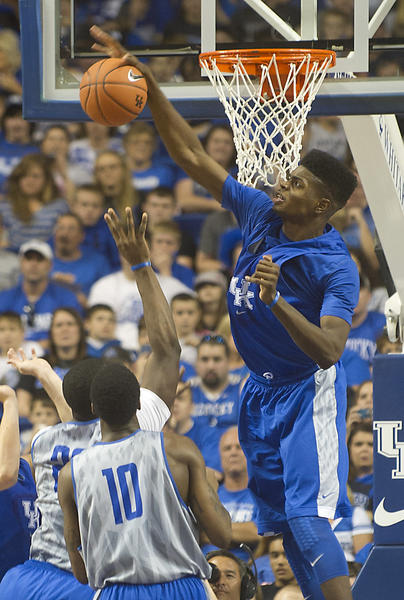 Kentucky center Nerlens Noel blocks a shot during the Wildcats' Blue-White scrimmage Wednesday at Rupp Arena.
