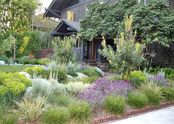 A frontyard is crafted to match a greene greene for Craftsman style garden designs