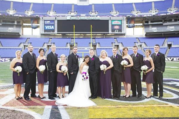 The bridal party took pictures on the field of M&T Bank Stadium before the reception.