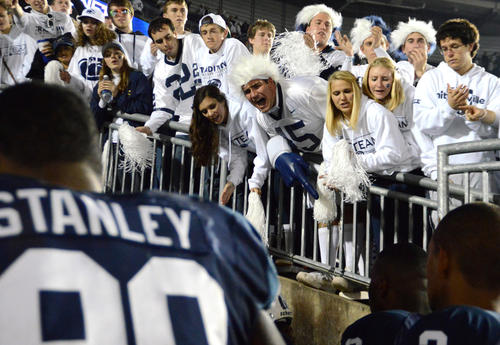 Penn State students cheer on football players as they leave the field after the Penn State vs. Ohio State game in Beaver Stadium on Saturday, October 27, 2012 in State College, Pa.