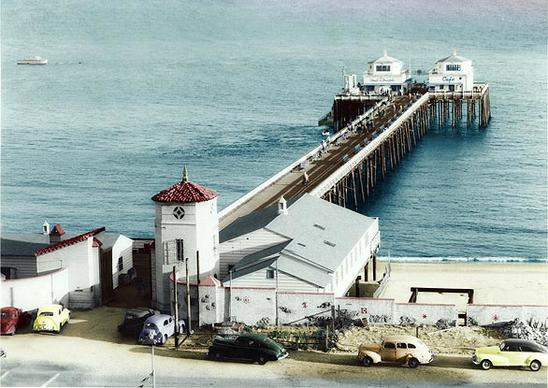 Malibu Pier circa 1940 from a postcard photo.  The pier has been under restoration for years, with the last projects slated for completion in August.