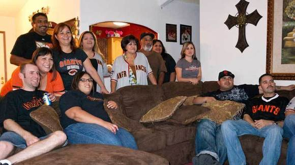 The Romo family gathers to watch the San Francisco Giants play