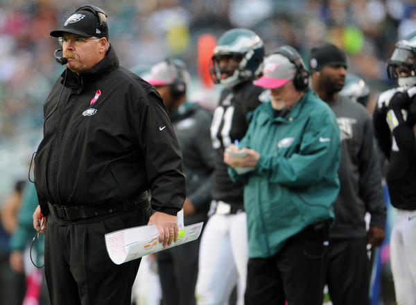 Philadelphia Eagles head coach Andy Reid watches against the Atlanta Falcons  at Lincoln Financial Field in Philadelphia on Sunday.