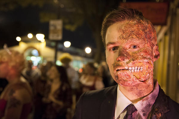 David Glover from Charles Village sports his make-up expertise during the Halloween celebration in Fells Point on Saturday.