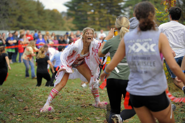 A stumbler zombie (which moves slowly), played by Alicia Pituch of Manassas, Va., creeps for brains as runners avoid her craving of flags.