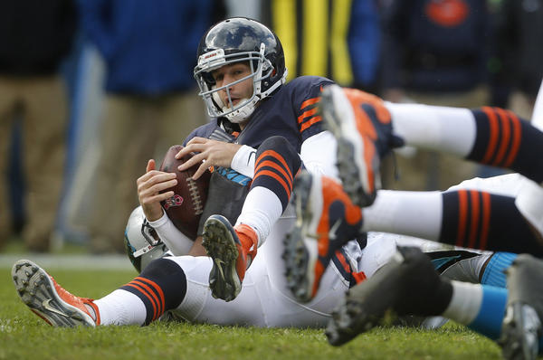 Bears quarterback Jay Cutler is sacked in the second quarter.