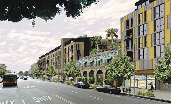 Rendering shows the proposed 280-unit High Line West apartment and retail complex that would rise around a historic Falcon Studios building on Hollywood Boulevard near Western Avenue.