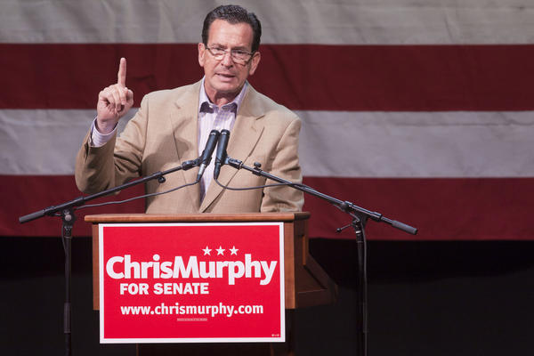 Gov. Dannel P. Malloy speaks at a rally for U.S. Senate candidate Chris Murphy Sunday in Waterbury.