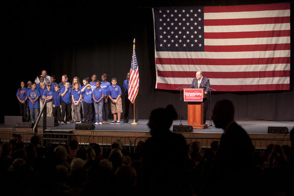 Waterbury Mayor Neil O'Leary introduces children from the Waterbury Police Activity League, who sang the national anthem at the Palace Theater Sunday before former President Bill Clinton and many other Democrats spoke at a rally supporting U.S. Senate candidate Chris Murphy.