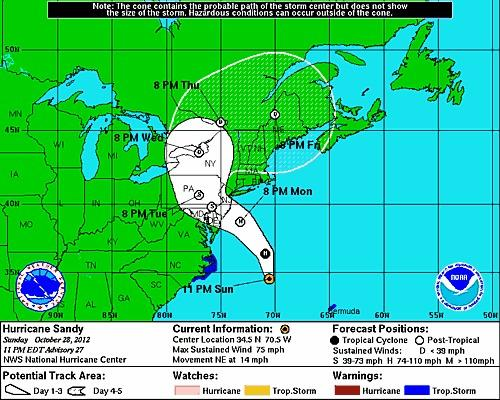 The projection cone for Hurricane Sandy as of 11 p.m. (NOAA / October 28, 2012)